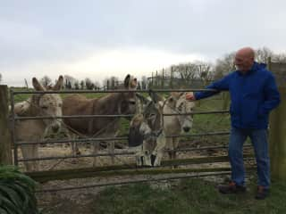 Greg in Cornwall with the rescue donkeys