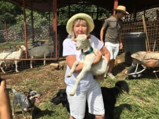 Jo at the Galo De Allende goat farm, Ajijic, MX