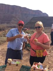 Cheers to us at the Grand Canyon