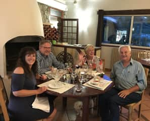 We love meeting new people, like this Australian couple, and trying new foods and drinks.