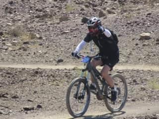 My husband mountain biking in Hatta on Omani boarder. 2017