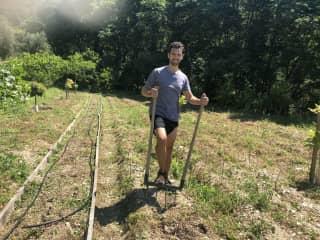 Me helping a friend at his veggie farm