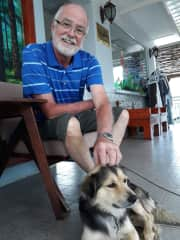 Bob with Robin - a dog we met in Viet Nam