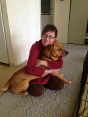 Me with Buddy, a lab-pit rescue who lives in San Francisco
