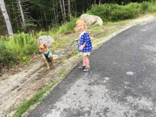 Walking our foster dog Fern in 2017