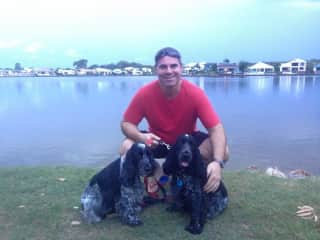 Clark with Ollie and Tempe - two Spaniels from QLD Australia