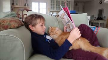 Éloi reading with Ollie. (France)