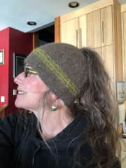 Kathryn with her knitted and felted hat she made