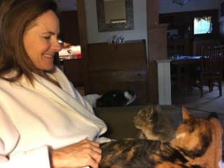 Two cats and a dog - and me - all happy!
