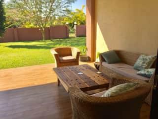 The outdoors 'stoep' (veranda) where you can 'braai' (baberque)