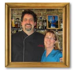 Geri and Tom at our restaurant Cellars Bar and Grill