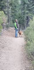 Jeff on a walk near Lake Tahoe with Sparky
