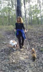 I taught Brandi how to walk on a lead. Walking in the forest at their home - April 2019