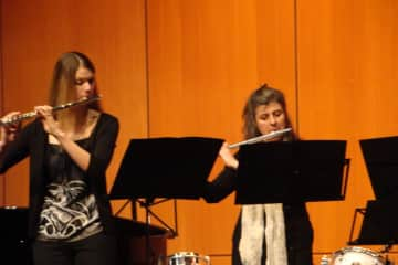 Playing in my flute quartet (second from the left)