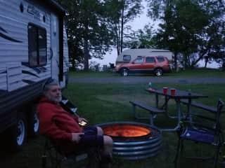 Jeff at a campsite in the Upper Peninsulae of Michigan.