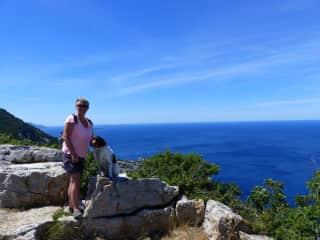 With Lady exploring Croatia