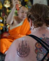Chiang Mai Thailand - having a sak yant tattoo and blessing by the monk