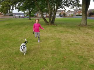 Bebba and Maisie, the first dog we looked after. She loved running with Bebba.
