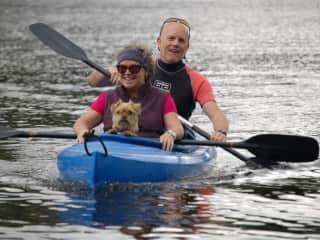 Poppy goes kayaking, Cumbria, UK