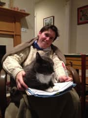 Our Kitty helping Joyce grade papers