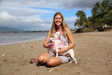 Beach fun with Princess and Lucy in Maui :-)