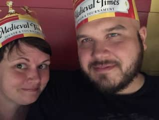 Elizabeth and Matthew at Medieval Times!  Woo, our knight won!