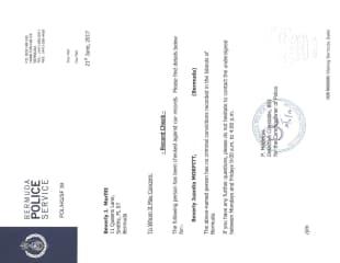 Bermuda Police criminal record check certificate