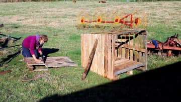 Building a dog house for poor Gordo who had no proper place to sleep (volunteer wrk, Chile)