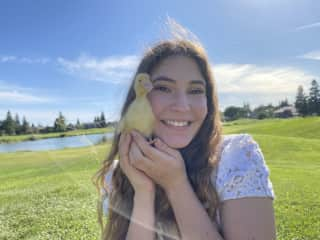 My daughter with Delilah, one of our two Pekin ducks!