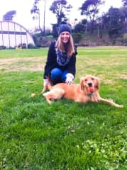 Playing fetch with Kitsap in San Francisco