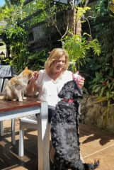 Jenny  with Silo the cat and Keefie the dog