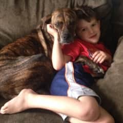 my youngest with our girl Bella when he was 4 or 5 years old