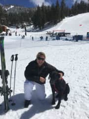 Me, meeting the safety patrol dog at ski hill.