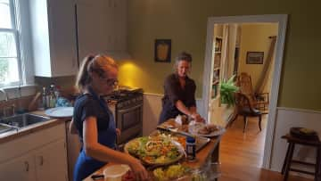 My younger daughter helping me cater a private event.
