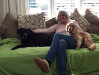 Janice with Summer and Meggie: couch potatoes! (Tonbridge, England)
