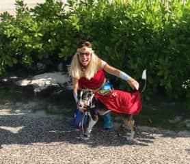 Belinda and Murphy on the Halloween dog walk!