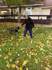 My sweet dog Mina and I playing ball