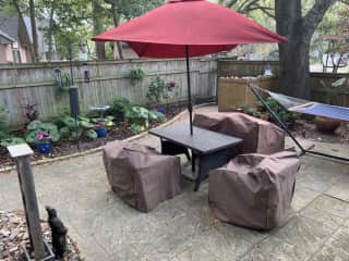 Back yard - hammock, outdoor furniture, water fountain and fire pit
