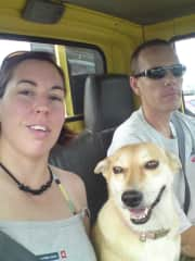 Natasha and Chris on the way to a pet rescue with our gal, Lois