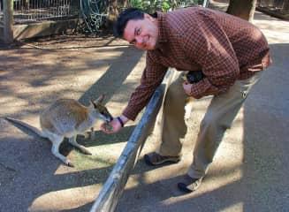 Tim feeding a Kangaroo in Australia