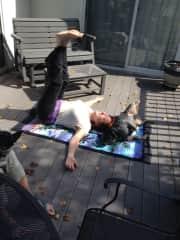 Doggie yoga!