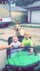 Nephew & Niece taking her for a ride