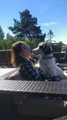 Mariah with Kaia (dog)