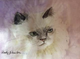 Painted a picture of Moonbeam, a cat I used to sit for.