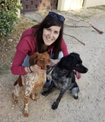 Cristina with his brother dogs