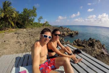 Ignacio and Pame  enjoying a lonely beach in Colombia