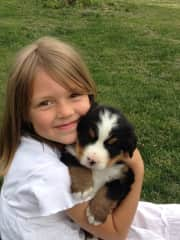 My daughter with one of our wonderful Bernese puppies
