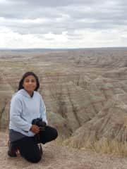 Jessica with Badlands Ntnl. Park as a backdrop.