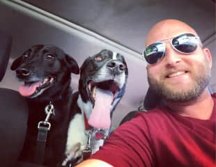 On the way to the dog park with General Lee and Callahan The Great!