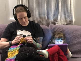 We're not party animals. When we are forced inside, we love to relax by knitting, reading, gaming or building with legos. We promise not to leave any behind for you to step on ;) Hey you might even end up with a newly knitted Afghan